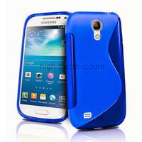 Housse etui coque silicone gel pour Samsung i9190 Galaxy S4 Mini + film ecran - BLEU