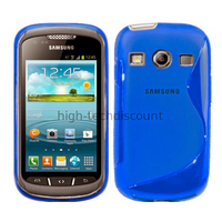 Housse etui coque silicone gel pour Samsung s7710 Galaxy Xcover 2 + film ecran - BLEU