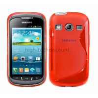 Housse etui coque silicone gel pour Samsung s7710 Galaxy Xcover 2 + film ecran - ROUGE