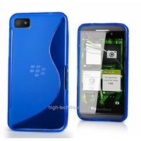 Housse etui coque silicone gel BLEU pour Blackberry Z10 + film ecran