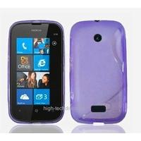 Housse etui coque silicone gel MAUVE pour Nokia Lumia 510 + film ecran