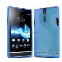 Housse etui coque silicone gel BLEU pour Sony Xperia S + film ecran