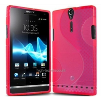 Housse etui coque silicone gel ROSE pour Sony Xperia S + film ecran