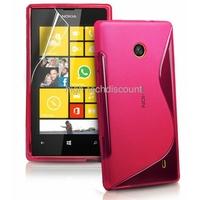 Housse etui coque silicone gel ROSE pour Nokia Lumia 520 + film ecran