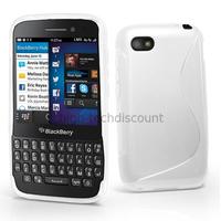 Housse etui coque pochette silicone gel pour Blackberry Q5 + film ecran - BLANC