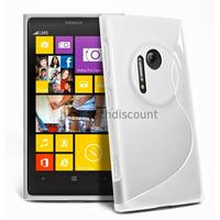 Housse etui coque pochette silicone gel pour Nokia Lumia 1020 + film ecran - BLANC