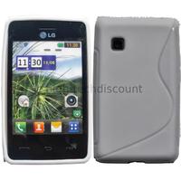 Housse etui coque pochette silicone gel pour LG T385 + film ecran - BLANC