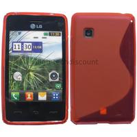 Housse etui coque pochette silicone gel pour LG T385 + film ecran - ROUGE