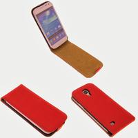 Housse etui coque cuir fine pour Samsung Galaxy s4 Mini i9190 i9195 + film ecran - ROUGE