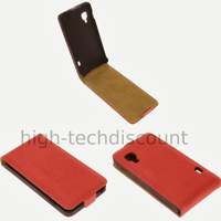 Housse etui coque cuir fine pour LG Optimus L5 II 2 + film ecran - ROUGE