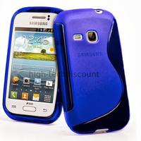 Housse etui coque silicone gel pour Samsung s6310 Galaxy Young + film ecran - BLEU