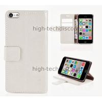 Housse etui coque pochette portefeuille pour Apple iPhone 5C + film ecran - BLANC