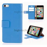 Housse etui coque pochette portefeuille pour Apple iPhone 5C + film ecran - BLEU