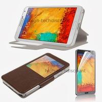 Housse etui coque pour Samsung Galaxy Note 3 n9000 n9005 + film ecran - MARRON VIEW