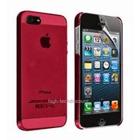 Housse etui coque fine rigide ROUGE pour Apple iPhone 5 5S 5G + film ecran
