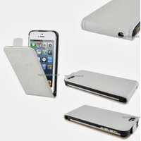 Housse etui coque cuir BLANC pour Apple iPhone 5 5S 5G + film ecran