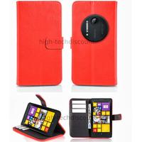 Housse etui coque portefeuille pour Nokia Lumia 1020 + film ecran - ROUGE