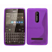 Housse etui coque pochette silicone gel pour Nokia Asha 210 + film ecran - MAUVE