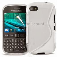 Housse etui coque pochette silicone gel pour Blackberry 9720 + film ecran - BLANC