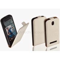 Housse etui coque pochette PU cuir fine pour HTC Desire 500 + film ecran - BLANC