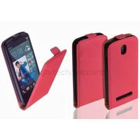 Housse etui coque pochette PU cuir fine pour HTC Desire 500 + film ecran - ROSE