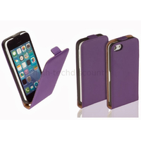 Housse etui coque pochette PU cuir fine pour Apple iPhone 5C + film ecran - MAUVE