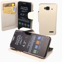 Housse etui coque pochette portefeuille pour Sosh le Mobile + film ecran - BLANC
