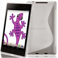 Housse etui coque silicone gel pour Google Nexus 7 2013 (version 2) + film ecran - BLANC