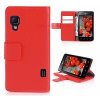 Housse etui coque pochette portefeuille pour LG Optimus L5 II 2 + film ecran - ROUGE