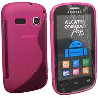 Housse etui coque silicone gel fine pour Alcatel One Touch Pop C3 4033D + film ecran - ROSE