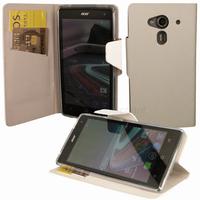 Housse etui coque pochette portefeuille pour Acer Liquid Z5 Duo + film ecran - BLANC