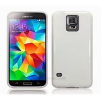 Housse etui coque fine silicone gel pour Samsung Galaxy S5 i9600 + film ecran - BLANC GLOSSY
