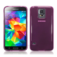 Housse etui coque fine silicone gel pour Samsung Galaxy S5 i9600 + film ecran - MAUVE GLOSSY