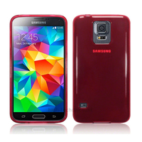 Housse etui coque fine silicone gel pour Samsung Galaxy S5 i9600 + film ecran - ROUGE GLOSSY