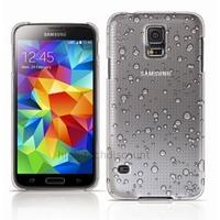 Housse etui coque pochette rigide goutte de pluie pour Samsung i9600 Galaxy S5 + film ecran - BLANC