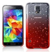 Housse etui coque pochette rigide goutte de pluie pour Samsung i9600 Galaxy S5 + film ecran - ROUGE