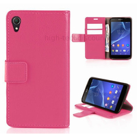 Housse etui coque pochette portefeuille PU cuir pour Sony Xperia Z2 + film ecran - ROSE