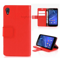 Housse etui coque pochette portefeuille PU cuir pour Sony Xperia Z3 + film ecran - ROUGE