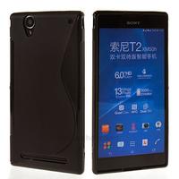 Housse etui coque silicone pochette gel fine pour Sony Xperia T2 Ultra + film ecran - NOIR