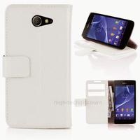 Housse etui coque pochette portefeuille PU cuir pour Sony Xperia M2 + film ecran - BLANC