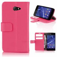 Housse etui coque pochette portefeuille PU cuir pour Sony Xperia M2 + film ecran - ROSE