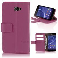 Housse etui coque pochette portefeuille PU cuir pour Sony Xperia M2 + film ecran - MAUVE