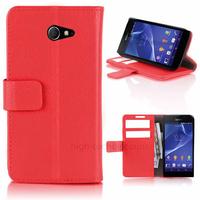 Housse etui coque pochette portefeuille PU cuir pour Sony Xperia M2 + film ecran - ROUGE