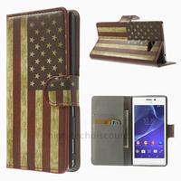 Housse etui coque pochette portefeuille PU cuir pour Sony Xperia M2 + film ecran - USA