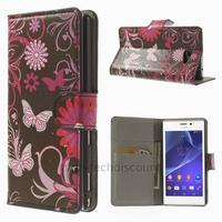 Housse etui coque pochette portefeuille PU cuir pour Sony Xperia M2 + film ecran - FLEURS N