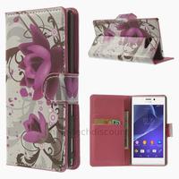 Housse etui coque pochette portefeuille PU cuir pour Sony Xperia M2 + film ecran - LOTUS