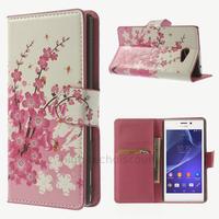 Housse etui coque pochette portefeuille PU cuir pour Sony Xperia M2 + film ecran - CERISIER
