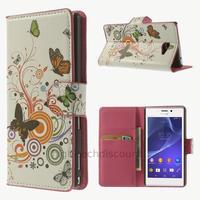 Housse etui coque pochette portefeuille PU cuir pour Sony Xperia M2 + film ecran - PAPILLONS