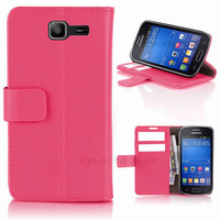 Housse etui coque portefeuille PU cuir pour Samsung s7390 Galaxy Trend Lite + film ecran - ROSE