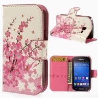 Housse etui coque portefeuille PU cuir pour Samsung s7390 Galaxy Trend Lite + film ecran - CERISIER